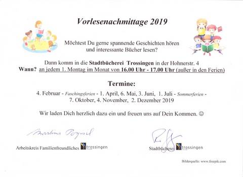 Lesenachmittage 2019